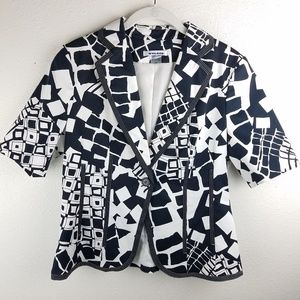 PETER NYGARD Black & White 1 Button Blazer
